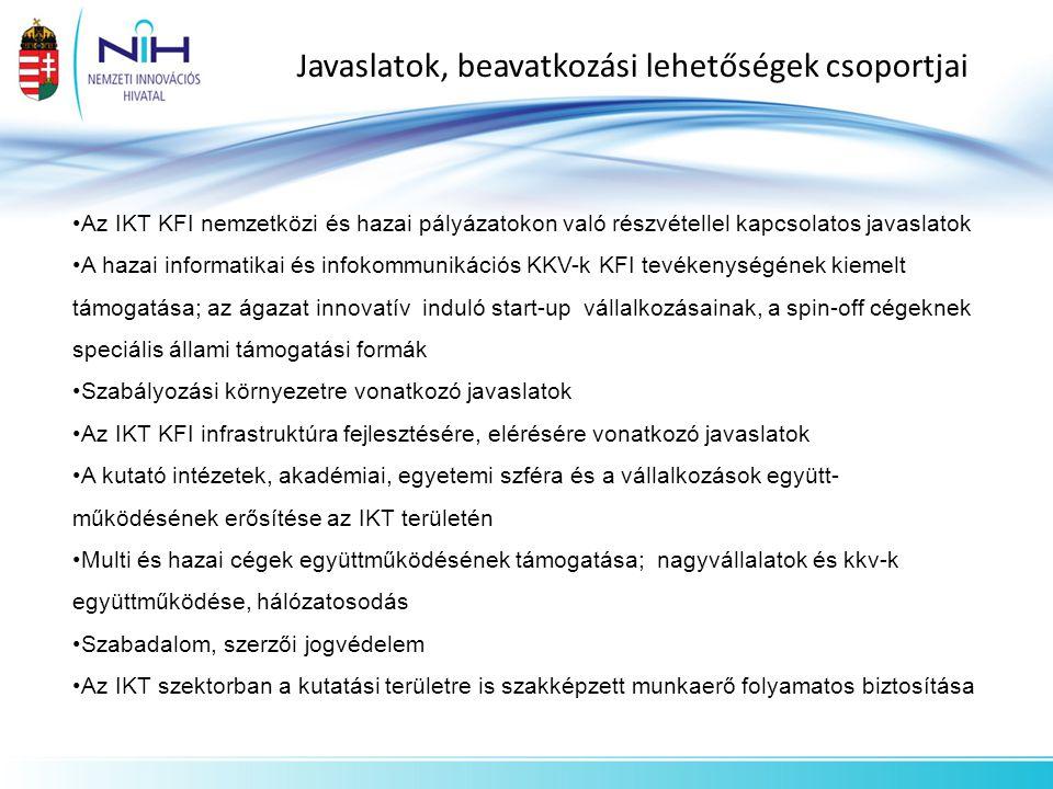 Javaslatok, beavatkozási lehetőségek csoportjai Az IKT KFI nemzetközi és hazai pályázatokon való részvétellel kapcsolatos javaslatok A hazai informati