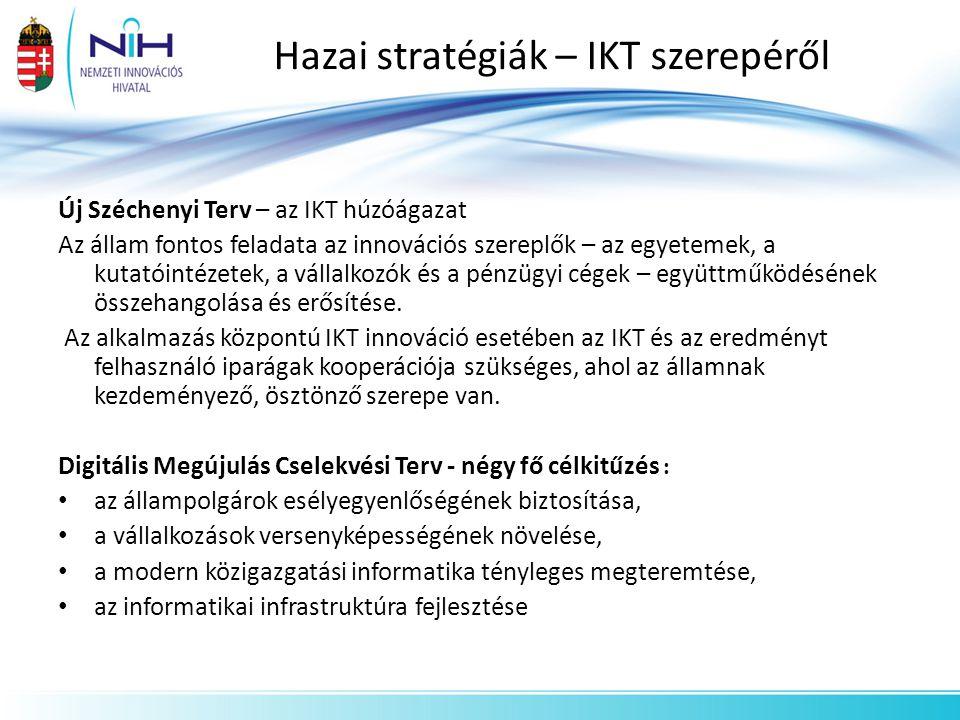 Hazai stratégiák – IKT szerepéről Új Széchenyi Terv – az IKT húzóágazat Az állam fontos feladata az innovációs szereplők – az egyetemek, a kutatóintéz