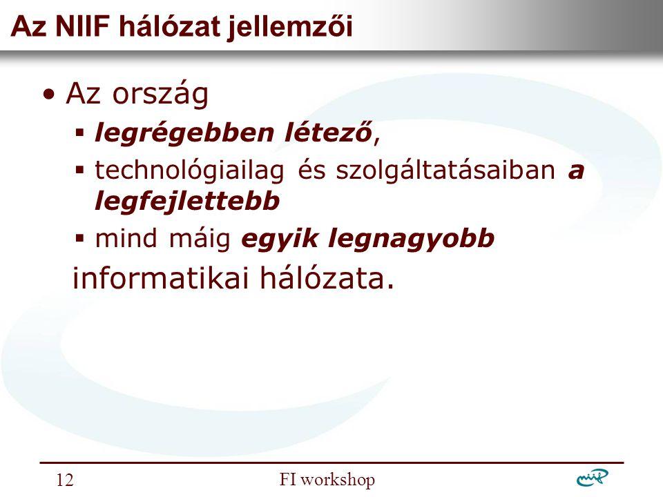 Nemzeti Információs Infrastruktúra Fejlesztési Intézet FI workshop 12 Az NIIF hálózat jellemzői Az ország  legrégebben létező,  technológiailag és s