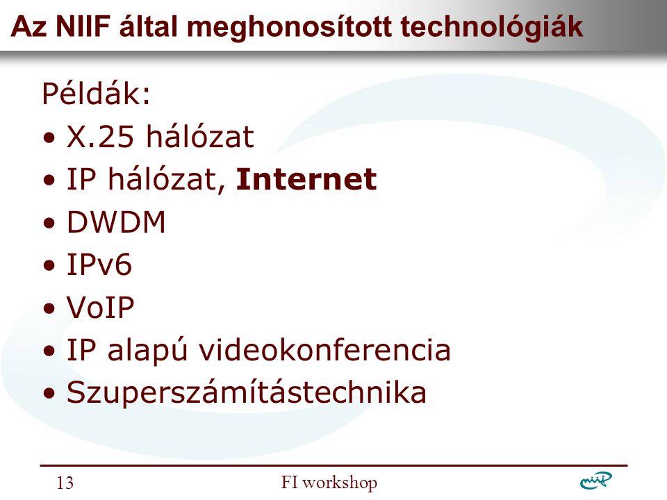 Nemzeti Információs Infrastruktúra Fejlesztési Intézet FI workshop 13 Az NIIF által meghonosított technológiák Példák: X.25 hálózat IP hálózat, Intern