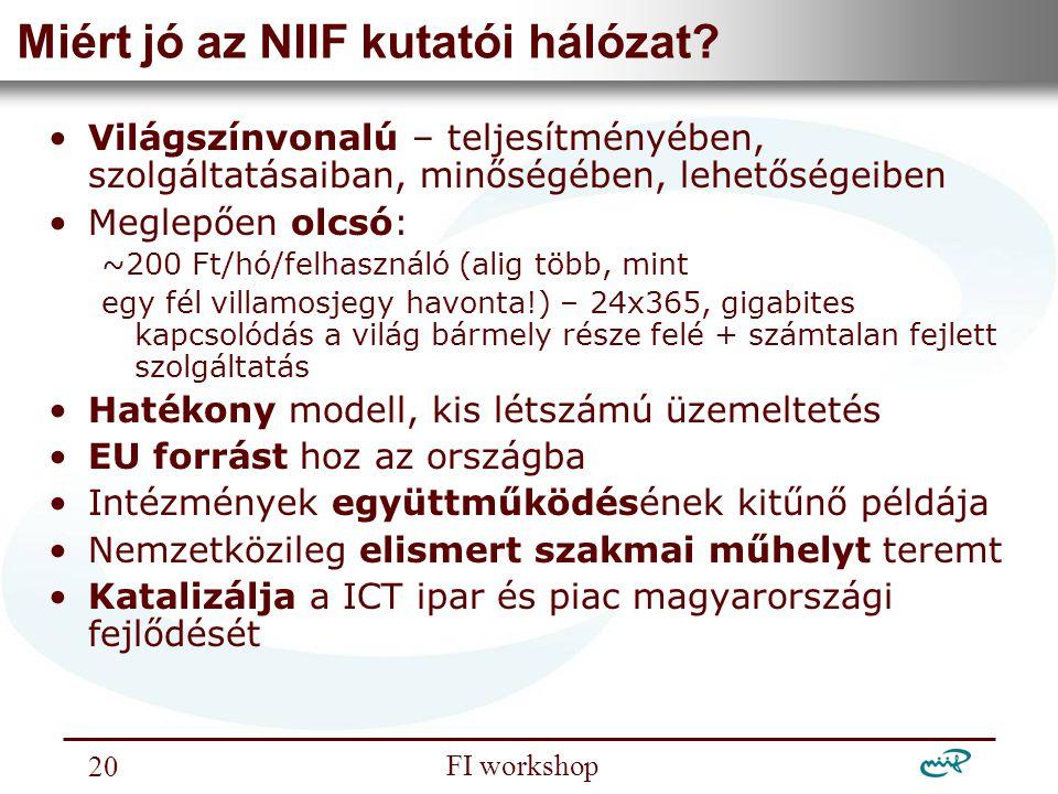 Nemzeti Információs Infrastruktúra Fejlesztési Intézet FI workshop 20 Miért jó az NIIF kutatói hálózat? Világszínvonalú – teljesítményében, szolgáltat