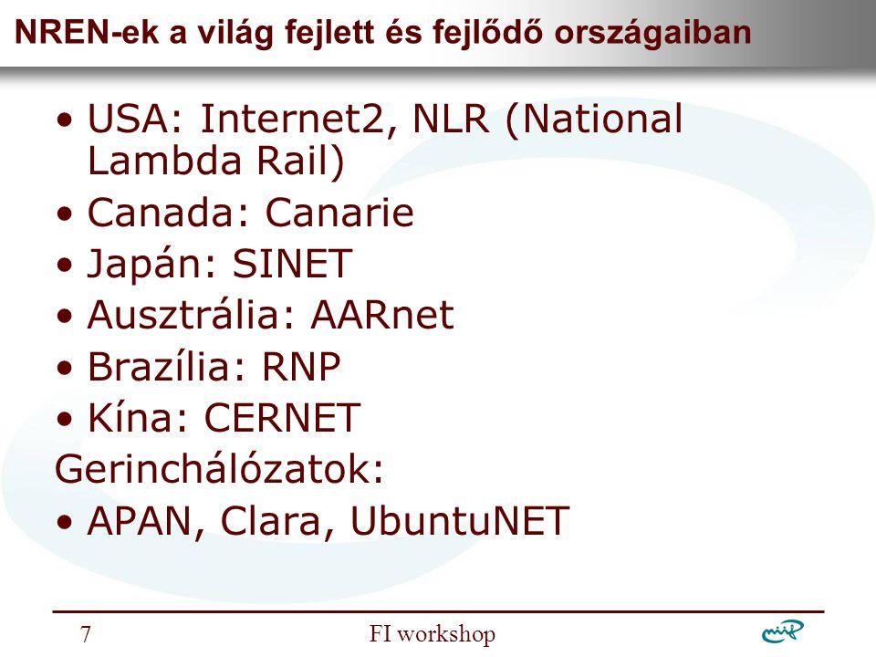 Nemzeti Információs Infrastruktúra Fejlesztési Intézet FI workshop 7 NREN-ek a világ fejlett és fejlődő országaiban USA: Internet2, NLR (National Lamb