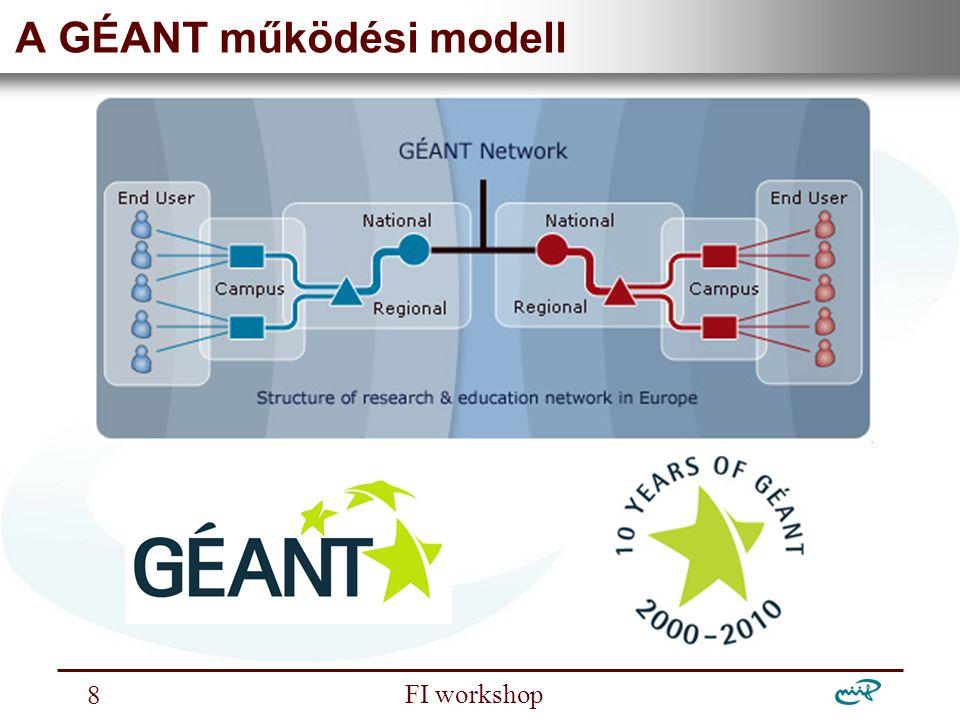 """Nemzeti Információs Infrastruktúra Fejlesztési Intézet FI workshop 9 ERA – Európai Kutatási Térség """"GÉANT is a pan-European e-infrastructure, which link together national research and education networks (NRENs)."""