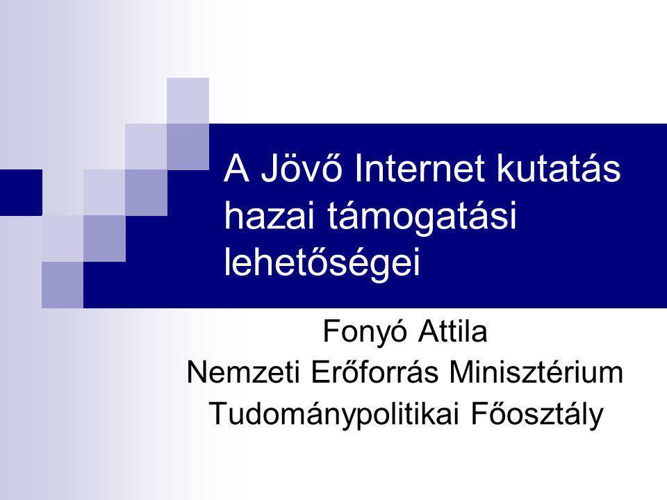 A Jövő Internet kutatás hazai támogatási lehetőségei Fonyó Attila Nemzeti Erőforrás Minisztérium Tudománypolitikai Főosztály