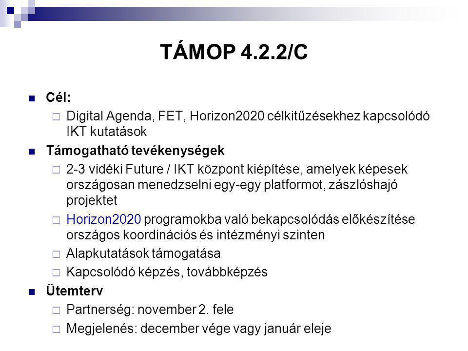 TÁMOP 4.2.2/C Cél:  Digital Agenda, FET, Horizon2020 célkitűzésekhez kapcsolódó IKT kutatások Támogatható tevékenységek  2-3 vidéki Future / IKT központ kiépítése, amelyek képesek országosan menedzselni egy-egy platformot, zászlóshajó projektet  Horizon2020 programokba való bekapcsolódás előkészítése országos koordinációs és intézményi szinten  Alapkutatások támogatása  Kapcsolódó képzés, továbbképzés Ütemterv  Partnerség: november 2.