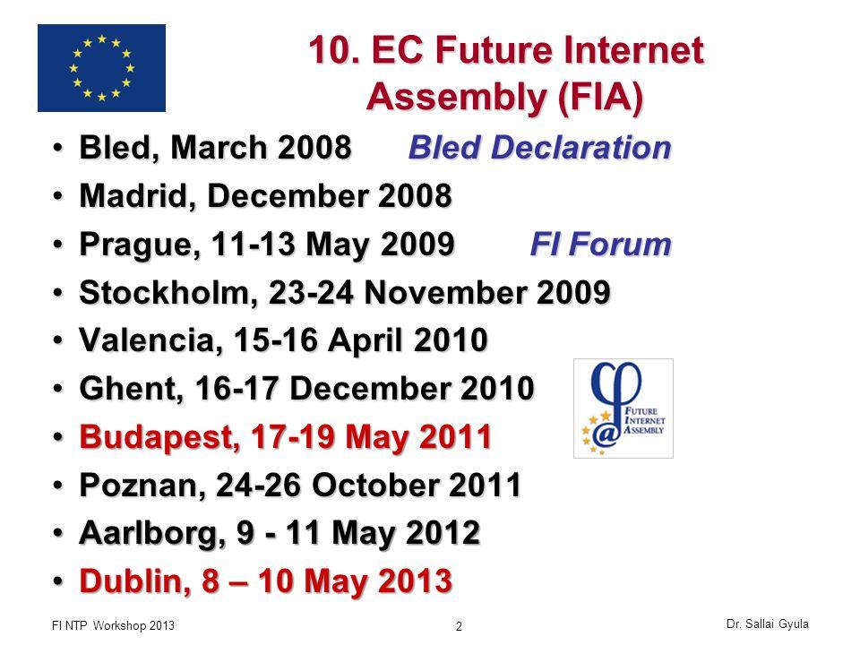 10. EC Future Internet Assembly (FIA) Bled, March 2008 Bled DeclarationBled, March 2008 Bled Declaration Madrid, December 2008Madrid, December 2008 Pr