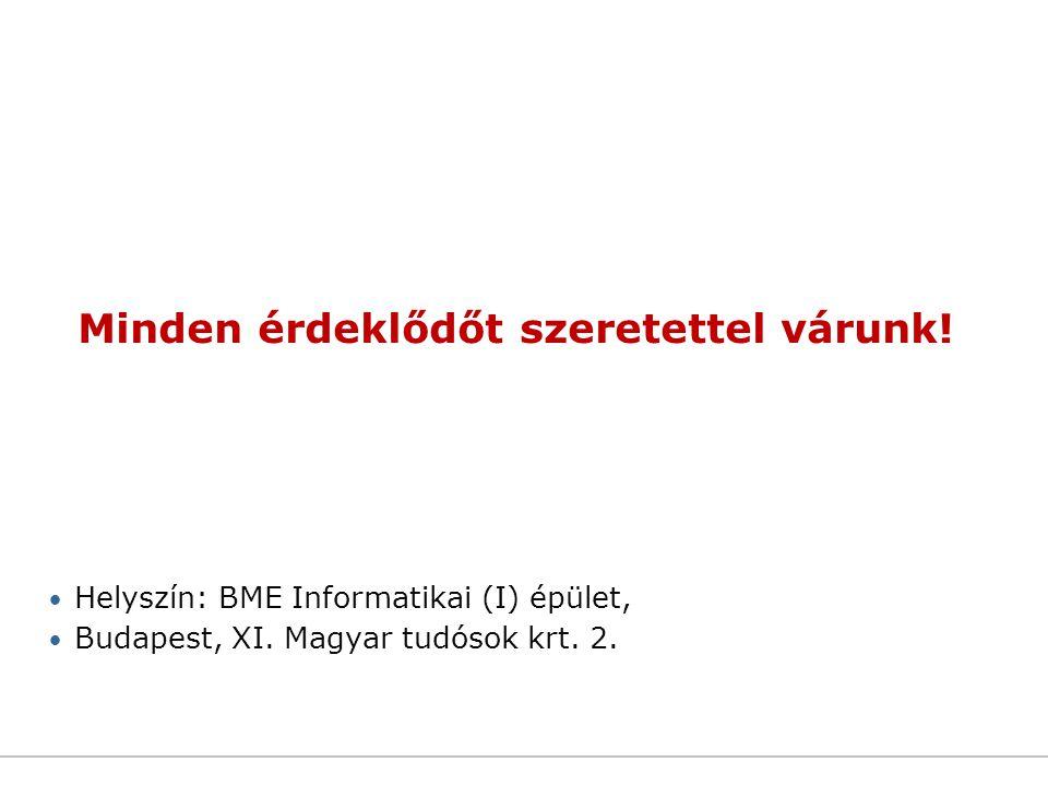 Minden érdeklődőt szeretettel várunk! Helyszín: BME Informatikai (I) épület, Budapest, XI. Magyar tudósok krt. 2.