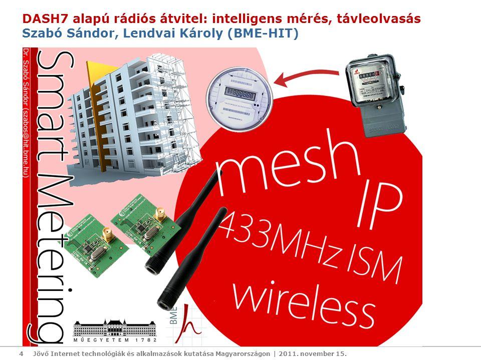 4 DASH7 alapú rádiós átvitel: intelligens mérés, távleolvasás Szabó Sándor, Lendvai Károly (BME-HIT)