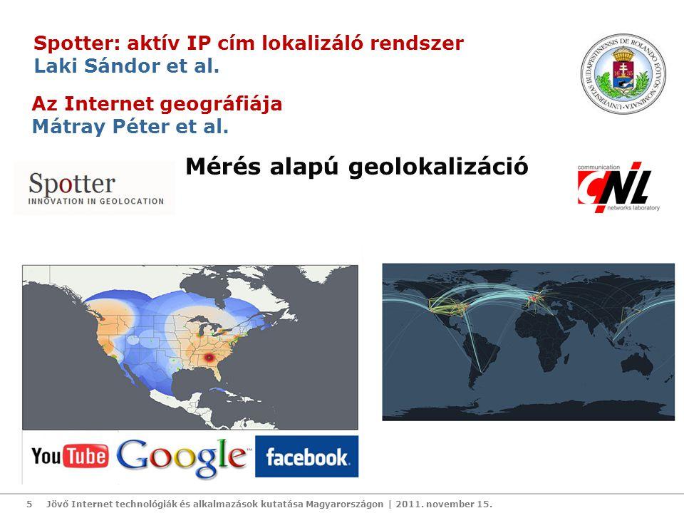 Jövő Internet technológiák és alkalmazások kutatása Magyarországon | 2011. november 15.5 Spotter: aktív IP cím lokalizáló rendszer Laki Sándor et al.