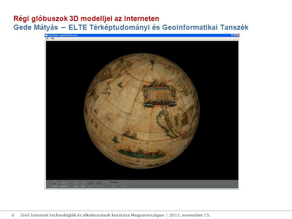 Virtuális Glóbuszok Múzeuma: http://vgm.elte.hu További információ: saman@map.elte.hu Jövő Internet technológiák és alkalmazások kutatása Magyarországon | 2011.