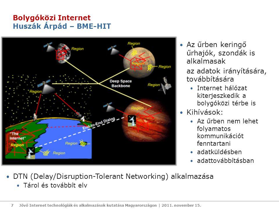 Az űrben keringő űrhajók, szondák is alkalmasak az adatok irányítására, továbbítására Internet hálózat kiterjeszkedik a bolygóközi térbe is Kihívások: Az űrben nem lehet folyamatos kommunikációt fenntartani adatküldésben adattovábbításban Jövő Internet technológiák és alkalmazások kutatása Magyarországon | 2011.