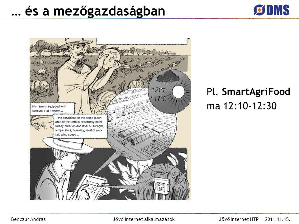Benczúr András Jövő Internet alkalmazások Jövő Internet NTP 2011.11.15. … és a mezőgazdaságban Pl. SmartAgriFood ma 12:10-12:30