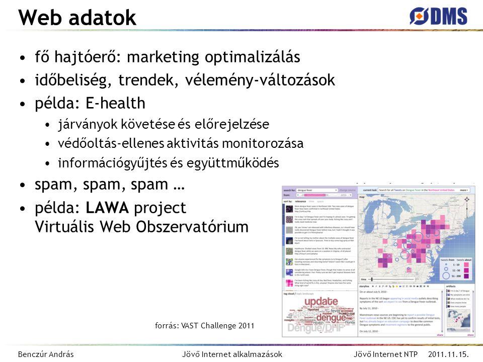 Benczúr András Jövő Internet alkalmazások Jövő Internet NTP 2011.11.15. Web adatok fő hajtóerő: marketing optimalizálás időbeliség, trendek, vélemény-