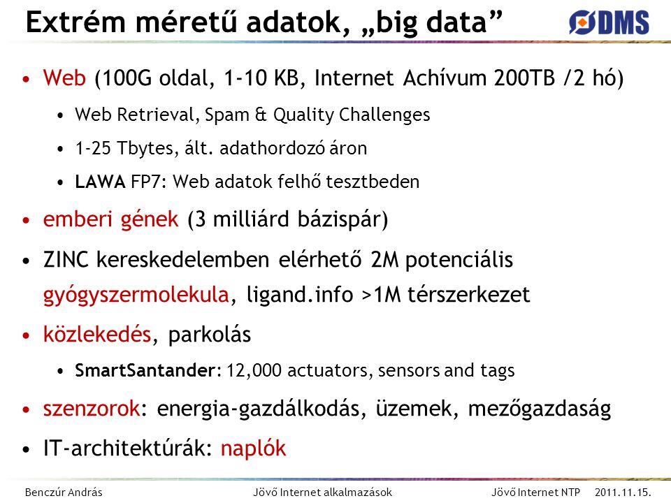 """Benczúr András Jövő Internet alkalmazások Jövő Internet NTP 2011.11.15. Extrém méretű adatok, """"big data"""" Web (100G oldal, 1-10 KB, Internet Achívum 20"""