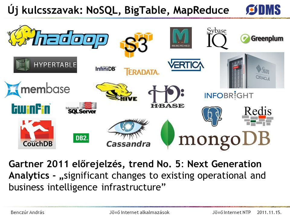 Benczúr András Jövő Internet alkalmazások Jövő Internet NTP 2011.11.15. Új kulcsszavak: NoSQL, BigTable, MapReduce Gartner 2011 előrejelzés, trend No.