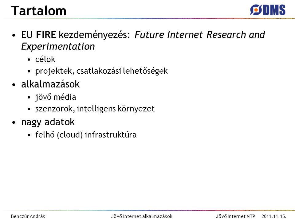 Benczúr András Jövő Internet alkalmazások Jövő Internet NTP 2011.11.15. Tartalom EU FIRE kezdeményezés: Future Internet Research and Experimentation c