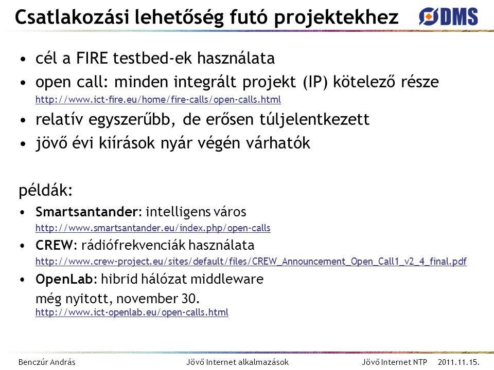 Benczúr András Jövő Internet alkalmazások Jövő Internet NTP 2011.11.15. Csatlakozási lehetőség futó projektekhez cél a FIRE testbed-ek használata open