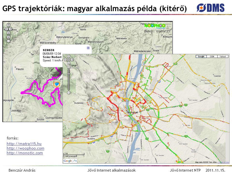 Benczúr András Jövő Internet alkalmazások Jövő Internet NTP 2011.11.15. GPS trajektóriák: magyar alkalmazás példa (kitérő) forrás: http://matra115.hu