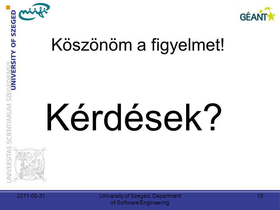 Köszönöm a figyelmet! Kérdések? 2011-05-31University of Szeged, Department of Software Engineering 15
