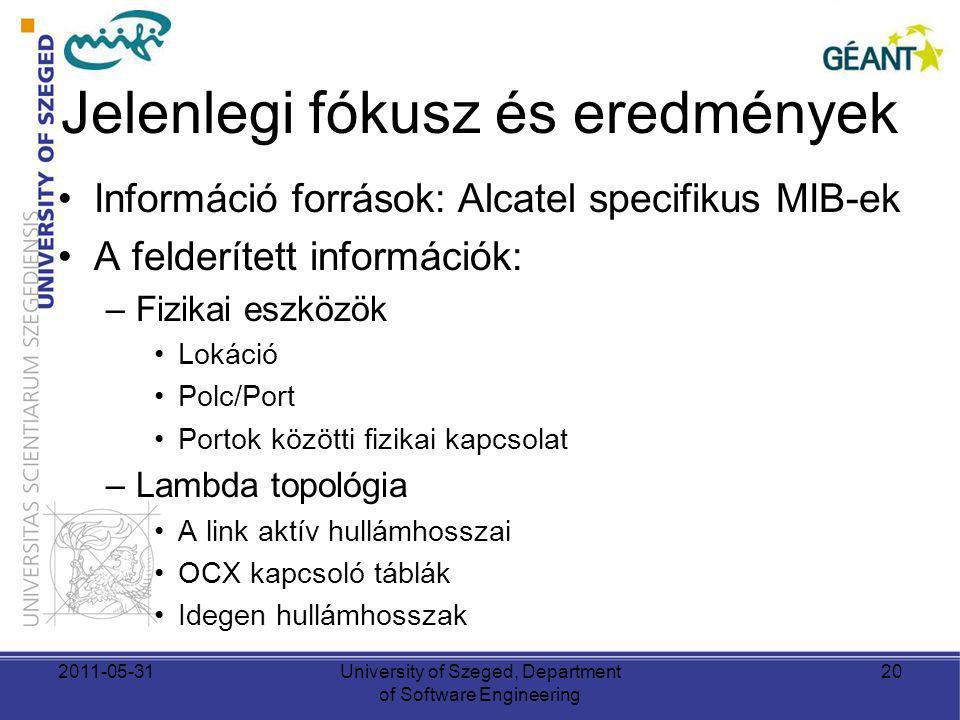 Jelenlegi fókusz és eredmények Információ források: Alcatel specifikus MIB-ek A felderített információk: –Fizikai eszközök Lokáció Polc/Port Portok közötti fizikai kapcsolat –Lambda topológia A link aktív hullámhosszai OCX kapcsoló táblák Idegen hullámhosszak 2011-05-31University of Szeged, Department of Software Engineering 20