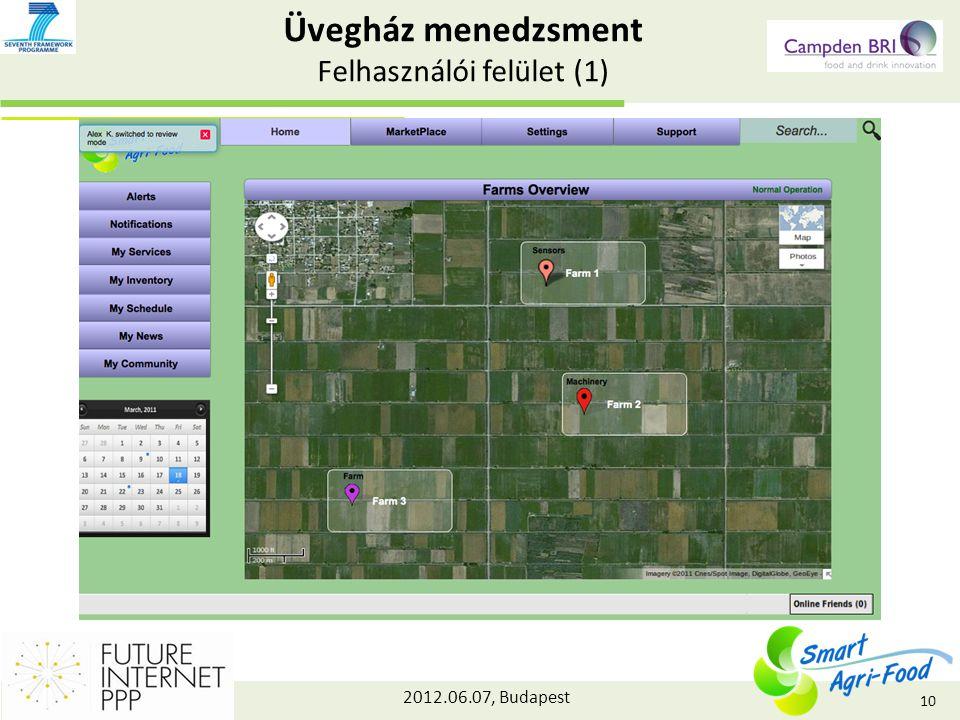 2012.06.07, Budapest Üvegház menedzsment Felhasználói felület (1) 10