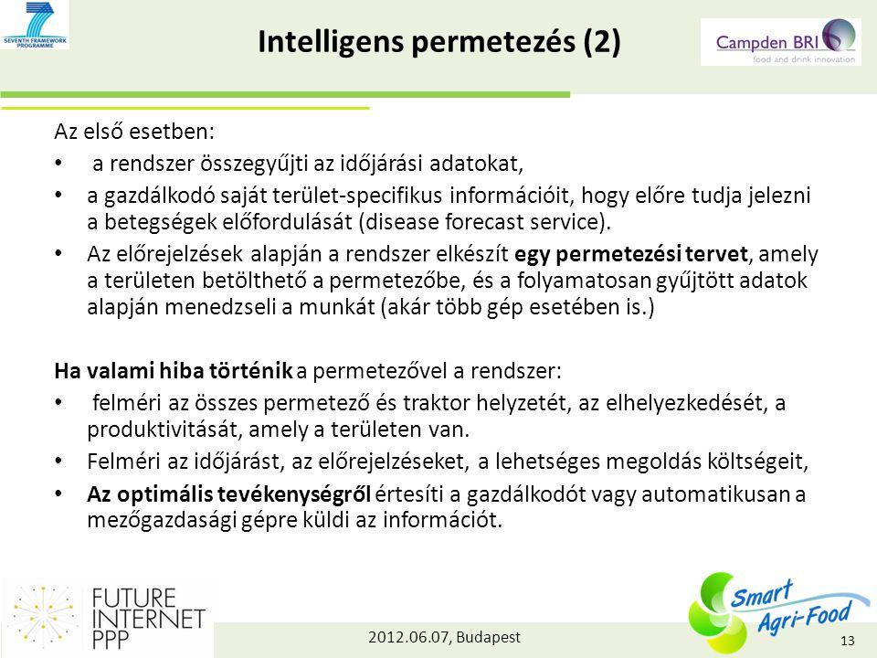 2012.06.07, Budapest Intelligens permetezés (2) Az első esetben: a rendszer összegyűjti az időjárási adatokat, a gazdálkodó saját terület-specifikus információit, hogy előre tudja jelezni a betegségek előfordulását (disease forecast service).
