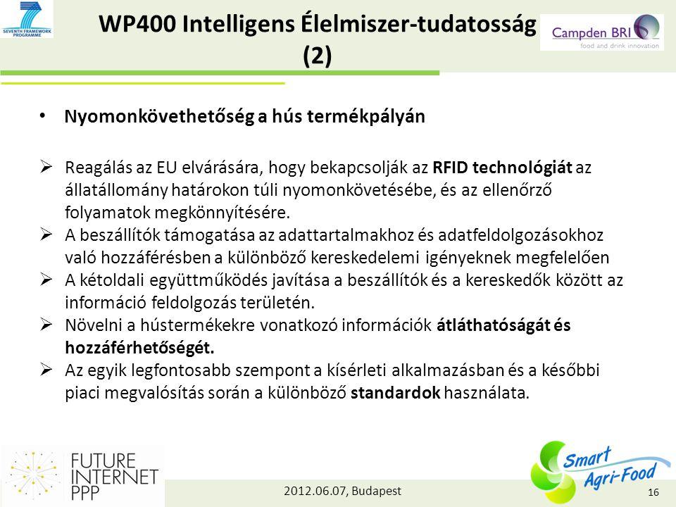 2012.06.07, Budapest WP400 Intelligens Élelmiszer-tudatosság (2) Nyomonkövethetőség a hús termékpályán  Reagálás az EU elvárására, hogy bekapcsolják az RFID technológiát az állatállomány határokon túli nyomonkövetésébe, és az ellenőrző folyamatok megkönnyítésére.