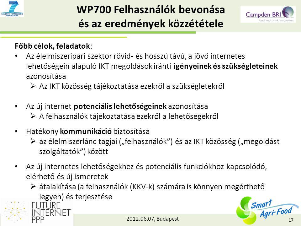 """2012.06.07, Budapest WP700 Felhasználók bevonása és az eredmények közzététele Főbb célok, feladatok: Az élelmiszeripari szektor rövid- és hosszú távú, a jövő internetes lehetőségein alapuló IKT megoldások iránti igényeinek és szükségleteinek azonosítása  Az IKT közösség tájékoztatása ezekről a szükségletekről Az új internet potenciális lehetőségeinek azonosítása  A felhasználók tájékoztatása ezekről a lehetőségekről Hatékony kommunikáció biztosítása  az élelmiszerlánc tagjai (""""felhasználók ) és az IKT közösség (""""megoldást szolgáltatók ) között Az új internetes lehetőségekhez és potenciális funkciókhoz kapcsolódó, elérhető és új ismeretek  átalakítása (a felhasználók (KKV-k) számára is könnyen megérthető legyen) és terjesztése 17"""