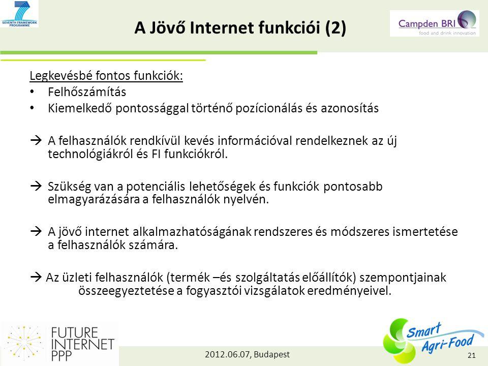 2012.06.07, Budapest A Jövő Internet funkciói (2) Legkevésbé fontos funkciók: Felhőszámítás Kiemelkedő pontossággal történő pozícionálás és azonosítás  A felhasználók rendkívül kevés információval rendelkeznek az új technológiákról és FI funkciókról.