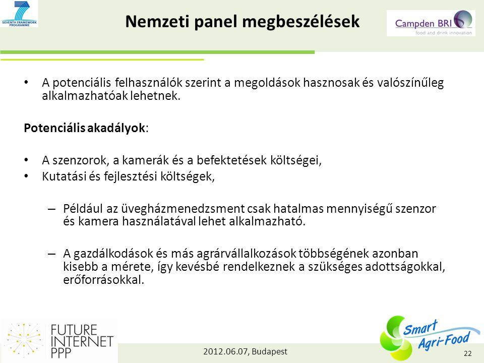 2012.06.07, Budapest Nemzeti panel megbeszélések A potenciális felhasználók szerint a megoldások hasznosak és valószínűleg alkalmazhatóak lehetnek.