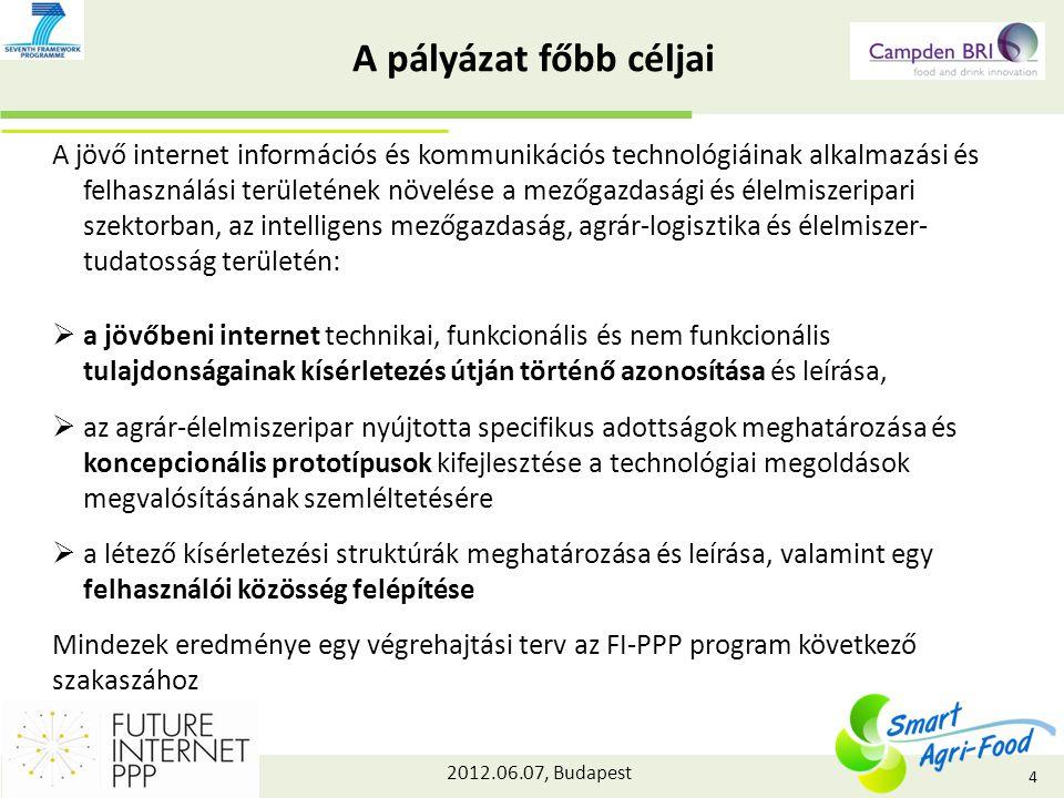 2012.06.07, Budapest A pályázat főbb céljai A jövő internet információs és kommunikációs technológiáinak alkalmazási és felhasználási területének növelése a mezőgazdasági és élelmiszeripari szektorban, az intelligens mezőgazdaság, agrár-logisztika és élelmiszer- tudatosság területén:  a jövőbeni internet technikai, funkcionális és nem funkcionális tulajdonságainak kísérletezés útján történő azonosítása és leírása,  az agrár-élelmiszeripar nyújtotta specifikus adottságok meghatározása és koncepcionális prototípusok kifejlesztése a technológiai megoldások megvalósításának szemléltetésére  a létező kísérletezési struktúrák meghatározása és leírása, valamint egy felhasználói közösség felépítése Mindezek eredménye egy végrehajtási terv az FI-PPP program következő szakaszához 4