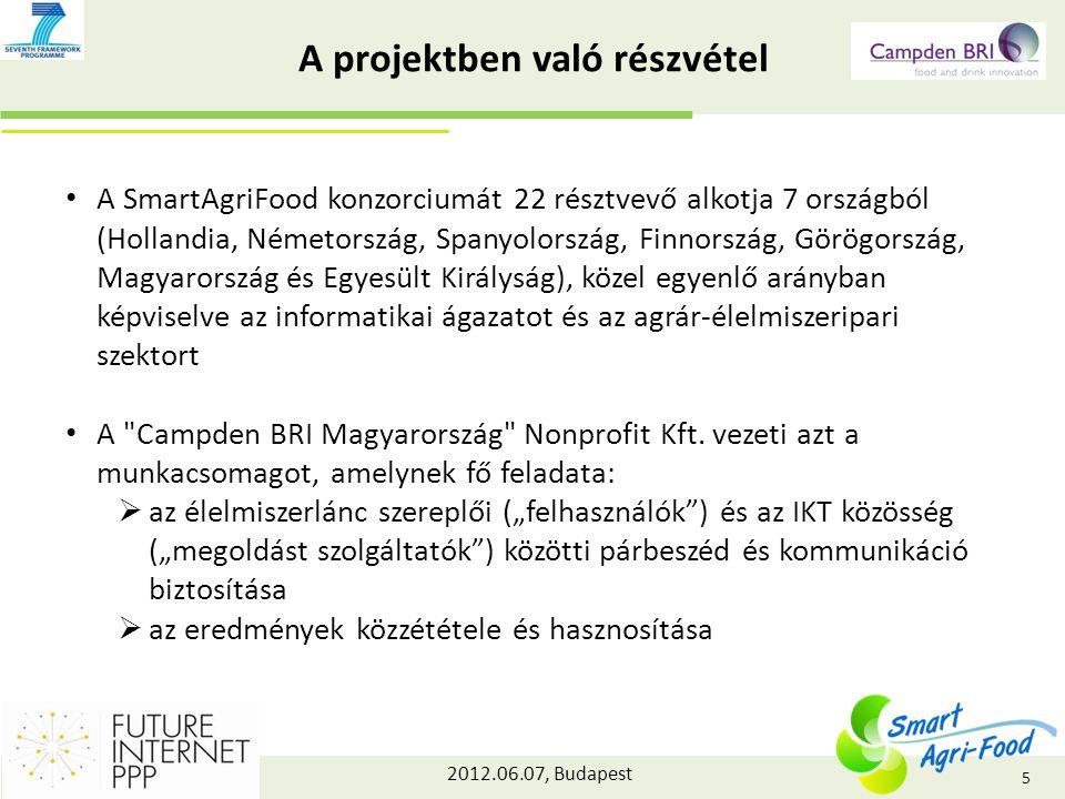 2012.06.07, Budapest A projektben való részvétel A SmartAgriFood konzorciumát 22 résztvevő alkotja 7 országból (Hollandia, Németország, Spanyolország, Finnország, Görögország, Magyarország és Egyesült Királyság), közel egyenlő arányban képviselve az informatikai ágazatot és az agrár-élelmiszeripari szektort A Campden BRI Magyarország Nonprofit Kft.