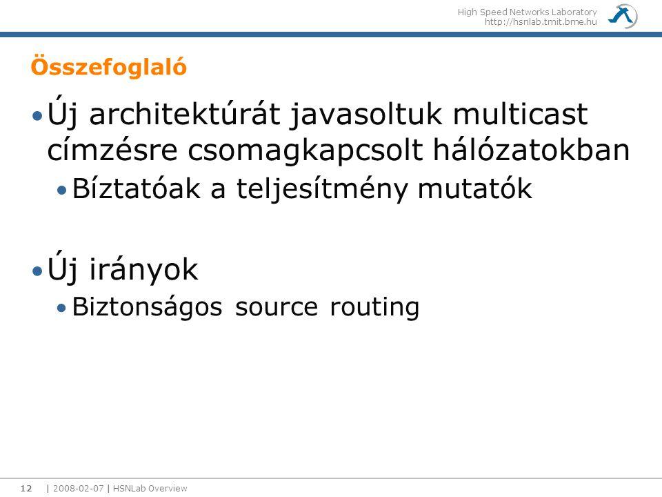 High Speed Networks Laboratory http://hsnlab.tmit.bme.hu Összefoglaló Új architektúrát javasoltuk multicast címzésre csomagkapcsolt hálózatokban Bíztatóak a teljesítmény mutatók Új irányok Biztonságos source routing | 2008-02-07 | HSNLab Overview12