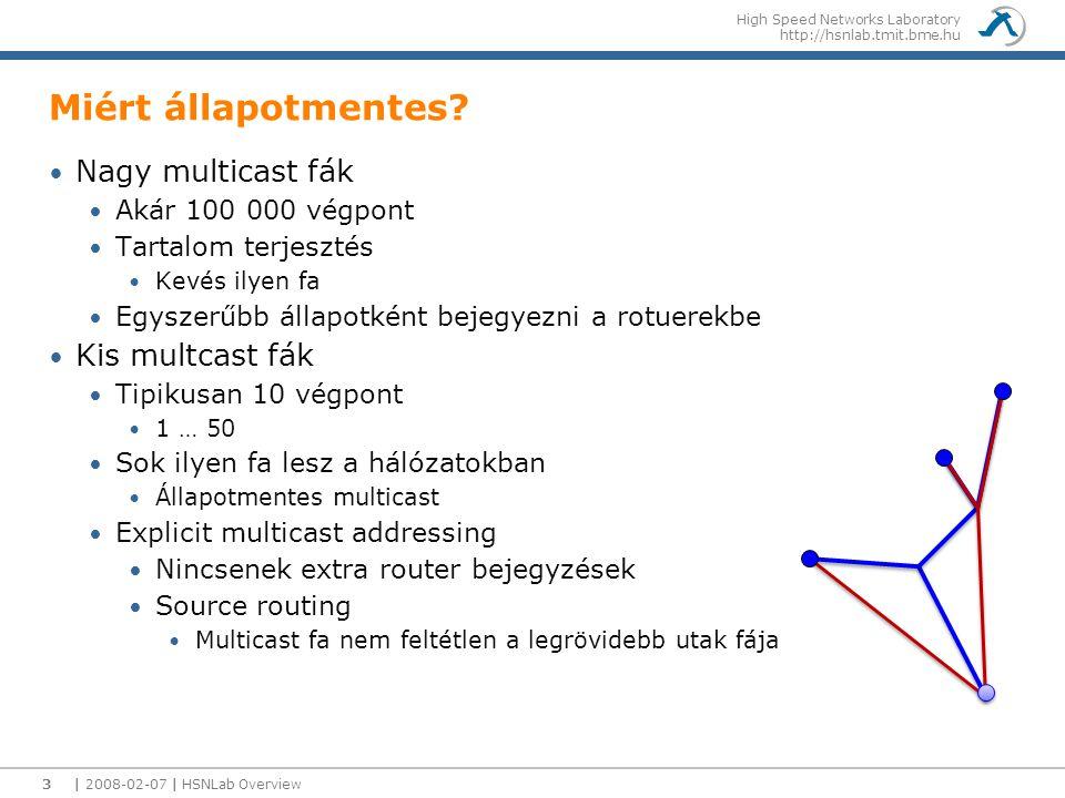 High Speed Networks Laboratory http://hsnlab.tmit.bme.hu Miért állapotmentes? Nagy multicast fák Akár 100 000 végpont Tartalom terjesztés Kevés ilyen