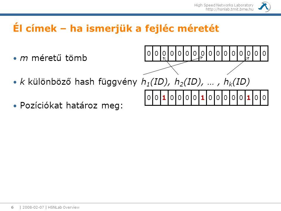 High Speed Networks Laboratory http://hsnlab.tmit.bme.hu | 2008-02-07 | HSNLab Overview7 In Packet Bloom filter-ek Bloom filterek Véletlen adat struktúra annak eldöntésére, hogy egy elem benne van-e egy halmazban Bloom filter célja Gyors tartalmazás tesztelés Hatékony helykihasználás Valamilyen valószínűséggel rossz válasz False positiv-ok lehetnek Rome→Milan Milan→Zurich Milan→Munich Bloom filter: 0 1 0 0 0 1 0 0 1 1 0 0 0 0 1 1 0 0 0 1 0 0 0 0 1 0 1 1 1 0 0 0 1 1 0 1 7 Milan Zurich Munich Rome Zagreb Link bloom ID: 010001001 Továbbításnál egy AND és CMP műveletet hajtunk végre