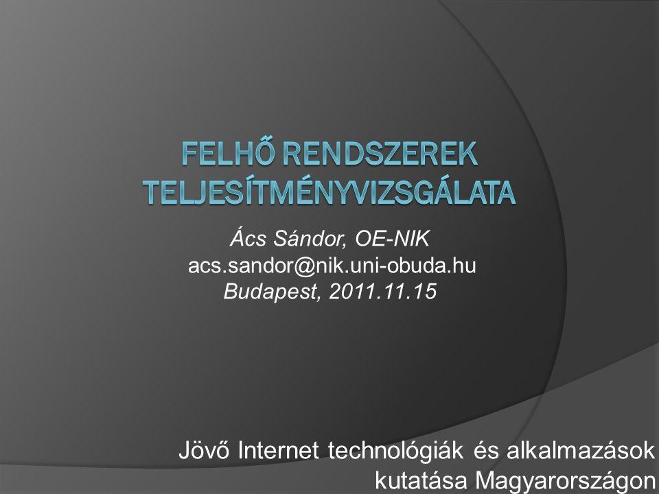 Jövő Internet technológiák és alkalmazások kutatása Magyarországon Ács Sándor, OE-NIK acs.sandor@nik.uni-obuda.hu Budapest, 2011.11.15
