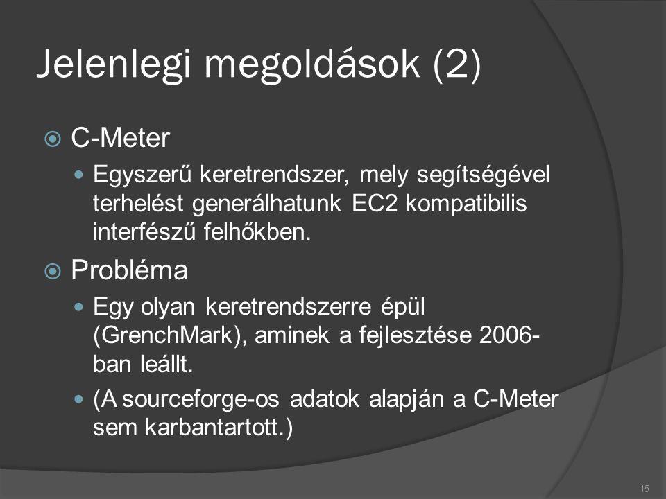 Jelenlegi megoldások (2)  C-Meter Egyszerű keretrendszer, mely segítségével terhelést generálhatunk EC2 kompatibilis interfészű felhőkben.