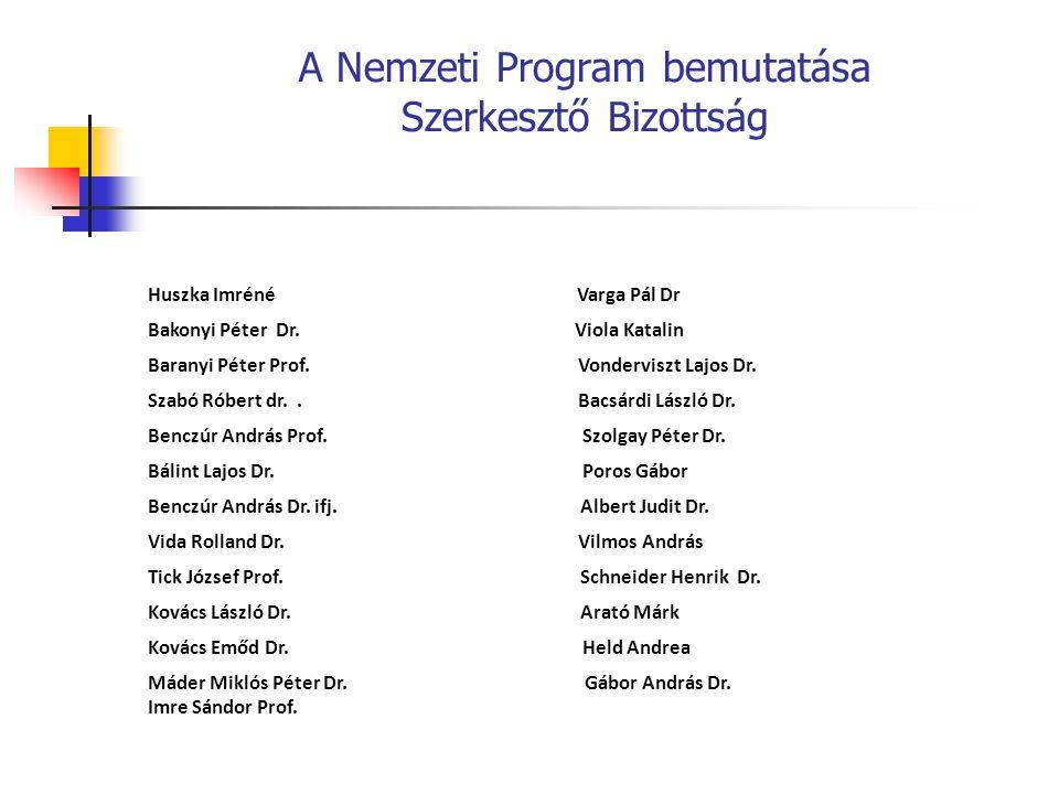 A Nemzeti Program bemutatása Szerkesztő Bizottság Huszka Imréné Varga Pál Dr Bakonyi Péter Dr.