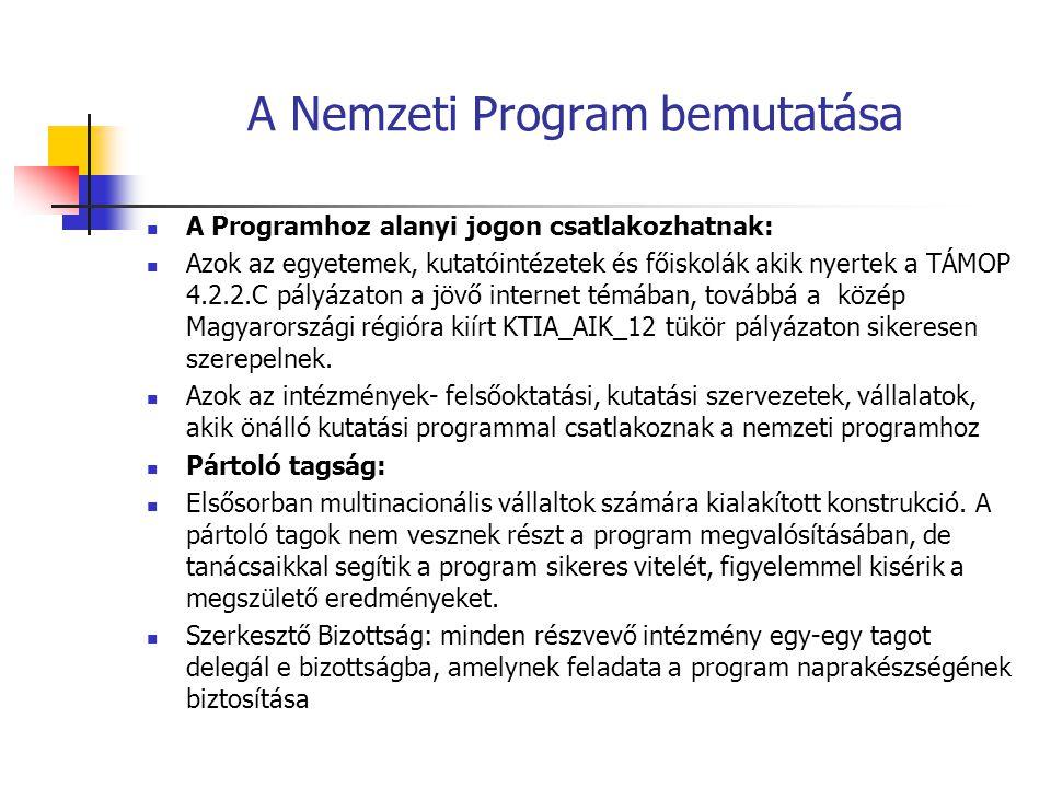 A Nemzeti Program bemutatása A Programhoz alanyi jogon csatlakozhatnak: Azok az egyetemek, kutatóintézetek és főiskolák akik nyertek a TÁMOP 4.2.2.C pályázaton a jövő internet témában, továbbá a közép Magyarországi régióra kiírt KTIA_AIK_12 tükör pályázaton sikeresen szerepelnek.