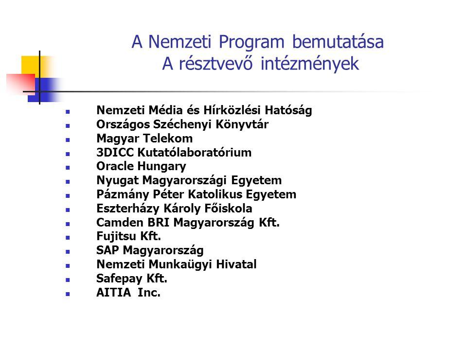 A Nemzeti Program bemutatása A Program struktúrája a következő: Irányító Bizottság Szerkesztő Bizottság Platform