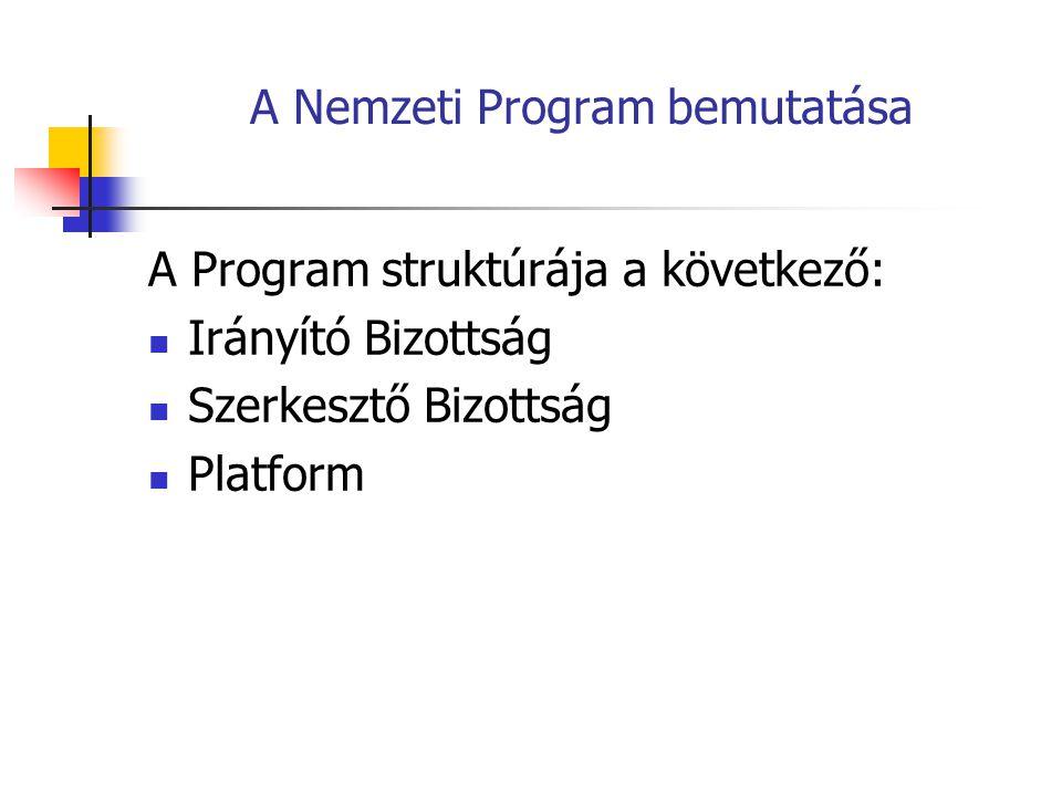 A Nemzeti Program bemutatása Irányító Bizottság: Elnök: D.