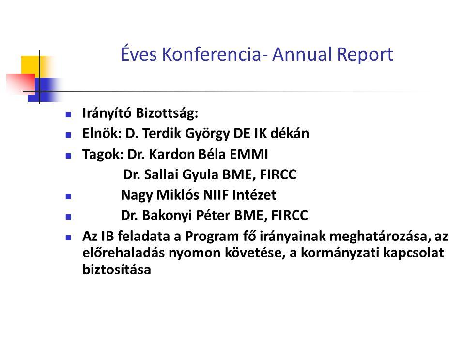 Éves Konferencia- Annual Report Irányító Bizottság: Elnök: D.