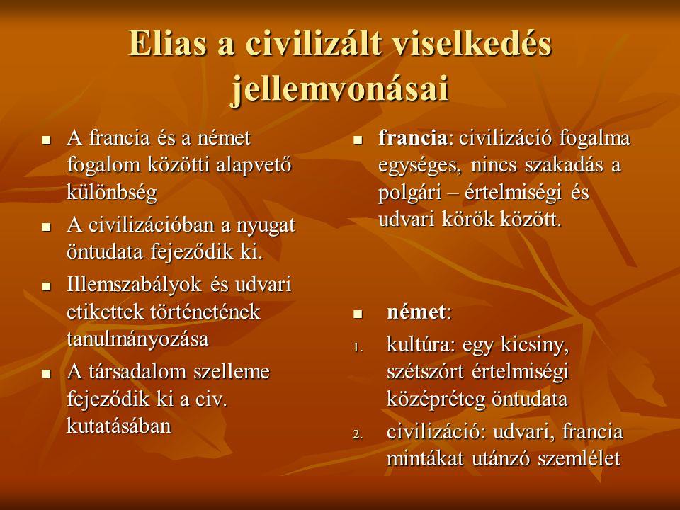 Elias a civilizált viselkedés jellemvonásai A francia és a német fogalom közötti alapvető különbség A francia és a német fogalom közötti alapvető külö