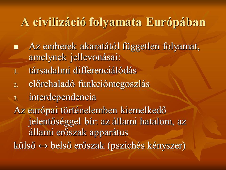 A civilizáció folyamata Európában Az emberek akaratától független folyamat, amelynek jellevonásai: Az emberek akaratától független folyamat, amelynek