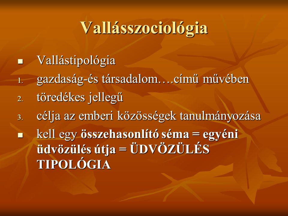 Vallásszociológia Vallástipológia Vallástipológia 1. gazdaság-és társadalom….című művében 2. töredékes jellegű 3. célja az emberi közösségek tanulmány