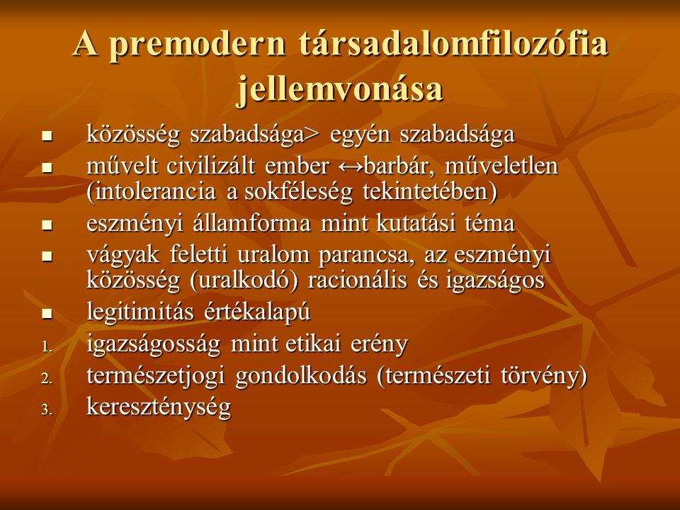 A premodern társadalomfilozófia jellemvonása közösség szabadsága> egyén szabadsága közösség szabadsága> egyén szabadsága művelt civilizált ember ↔barb