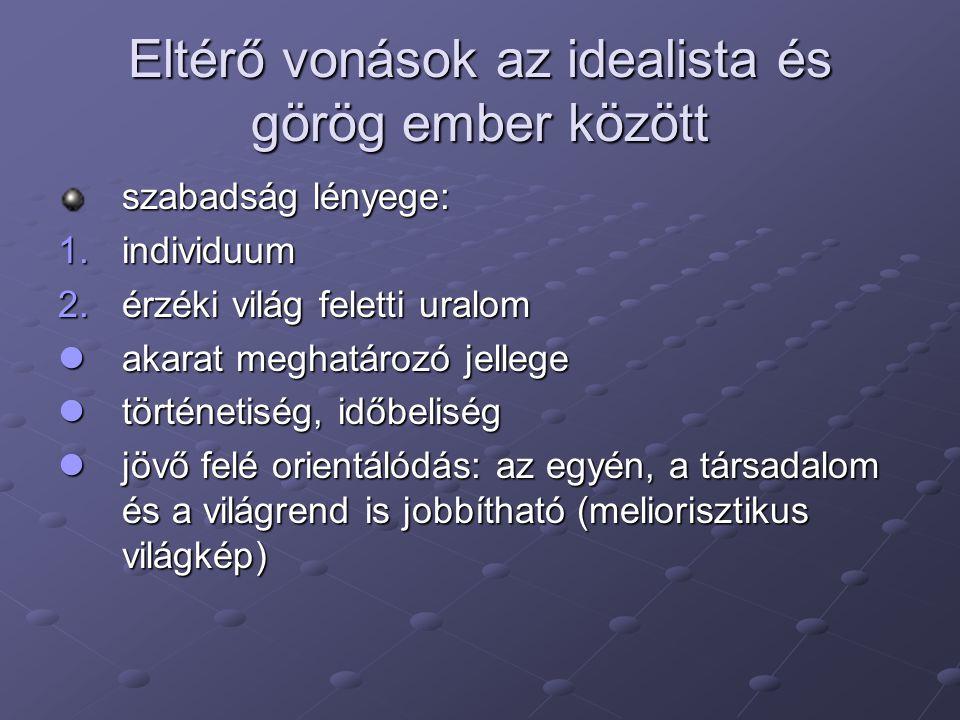 Eltérő vonások az idealista és görög ember között szabadság lényege: 1.individuum 2.érzéki világ feletti uralom akarat meghatározó jellege akarat megh
