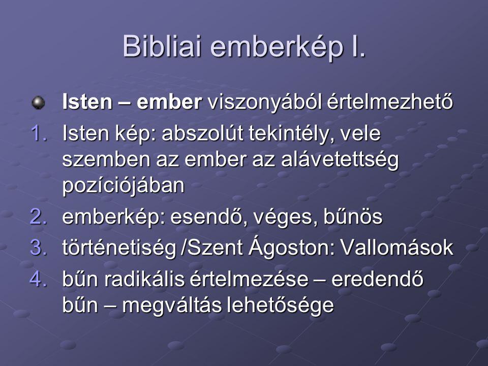Bibliai emberkép I. Isten – ember viszonyából értelmezhető 1.Isten kép: abszolút tekintély, vele szemben az ember az alávetettség pozíciójában 2.ember
