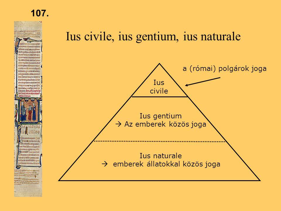 Ius civile, ius gentium, ius naturale a (római) polgárok joga Ius gentium  Az emberek közös joga Ius naturale  emberek állatokkal közös joga Ius civile 107.