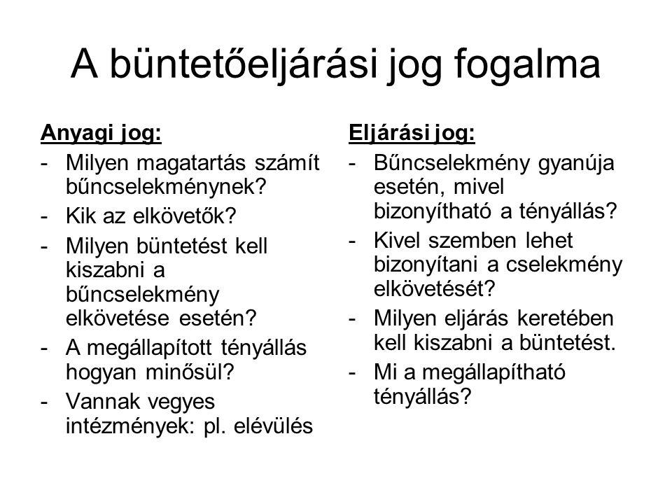 """A magyar büntető eljárási jog fejlődésének rövid története az eljárási jog az Árpád-házi királyok időszakában: -a germán joghoz hasonló vádelvű rendszer -érvényesül a nyilvánosság, szabad védekezéshez való jog, közvetlenség -kompozíció hiányában a bíróság ítéletet hozott az Árpádházi királyokat követően: -a normann rendszer érvényesül -súlyosabb bűncselekmények esetén hivatalbóli eljárás -a király kiküldöttei a környékbeli emberektől """"tudományvétel alapján tájékozódtak a bűncselekményekről -nemesek ügyeiben vádrendszer alakul ki -a nem-nemesek ügyeiben """"sommás eljárás (nyomozó elvű) -a tortúra a XIX."""